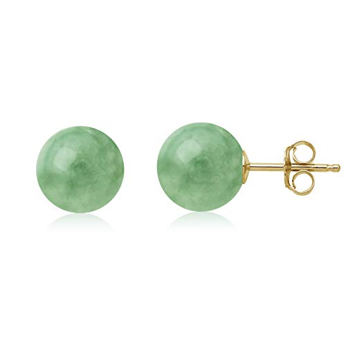 (14K Yellow Gold Natural Green Jade Round Stud Earrings (6mm))