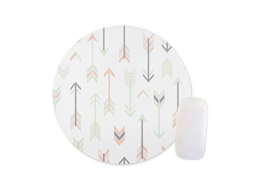 White feathers with arrows Round Mouse pad Customized Non Slip Rubber Round Mouse pad Non Slip Rubber Mouse pad Gaming Mouse Pad (Colormouse Pads)