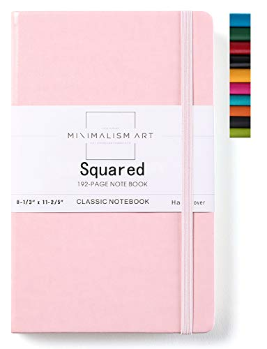 Minimalism Art, Classic Notebook Journal, A4 Size 8.3 X 11.4 inches, Pink, Squared Grid Page, 192 Pages, Hard Cover, Fine PU Leather, Inner Pocket, Quality Paper-100gsm, Designed in San Francisco