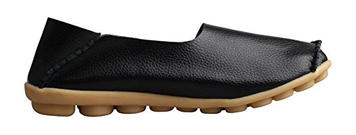 VenusCelia Frauen Comfort Walking Netter Flacher Loafer Schwarz