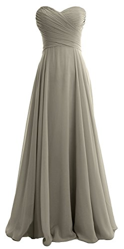 Gown Bridesmaid Dress Pleated Chiffon Party Macloth Sweetheart Wedding Silver Long Women F6afnx0wqP