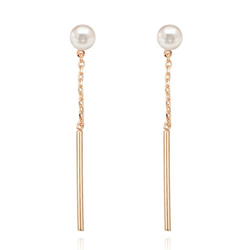 PAVOI 14k Rose Gold Plated Shell Pearl Earrings Drop -