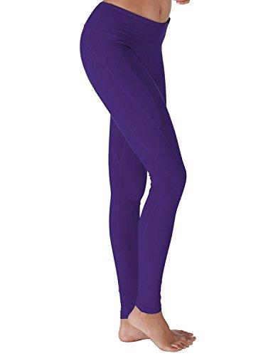 Yoga Reflex Women's Yoga Pants - Stitched Bottom - Hidden Pocket, PURPLE, 2XL