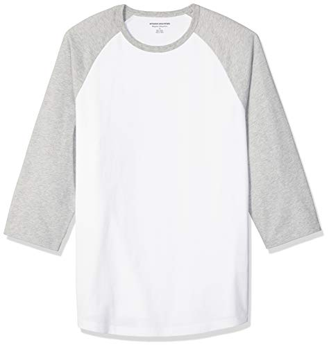Amazon Essentials Men's Regular-Fit 3/4 Sleeve Baseball T-Shirt, Light Gray Heather/White, XX-Large