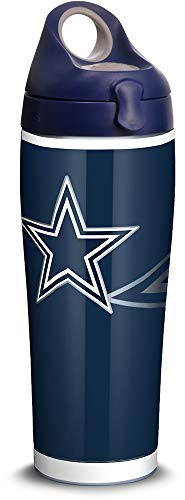 Tervis 1305176 NFL Dallas Cowboys Rush Stainless Steel Insulated Tumbler with Navy with Gray Lid, 24oz Water Bottle, Silver