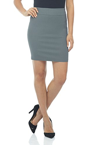 Rekucci Women's Ease Into Comfort Above The Knee Stretch Pencil Skirt 19 inch (X-Small,Graphite)