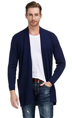 Men's Draped Lightweight Open Front Shawl Collar Cardigan Size S Navy Blue