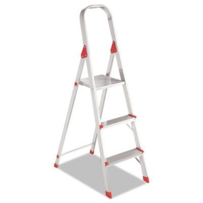 Louisville® - #566 Three Foot Folding Aluminum Euro Platform Ladder, Red - Sold As 1 Each - Locking platform provides large standing area. by Louisville (566 Three Foot)