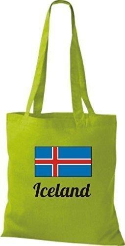 shirtinstyle Tela Bolsa Algodón länderjute Iceland island - fucsia, 38 cm x 42 cm verde lima