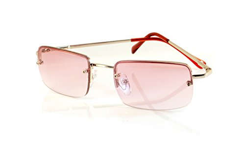 Sunglasses Pink Lens - FBL Minimalist Small Rectangular Color Tinted Sunglasses Spring Hinge A125 (Silver/ Pink)