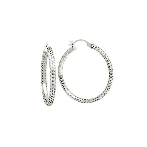 Sterling Silver Mesh Tube Hoop Earrings ()