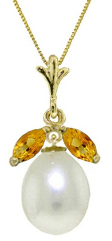 14k Solid Gold Necklace with Natural Citrines and Pearl