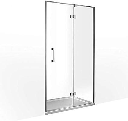 Mampara de ducha, 80x200 cm, espesor 8 mm, panel fijo+puerta abatible, tratamiento NANO: Amazon.es: Hogar