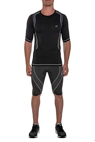 CW-X Men's Short Sleeve Ventilator Web Top, Black/Charcoal/Silver, Medium