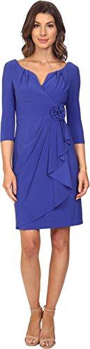 Adrianna Papell Women's Rosette Draped Cascade Dress Indigo Blue Dress (Adrianna Papell Rosette)