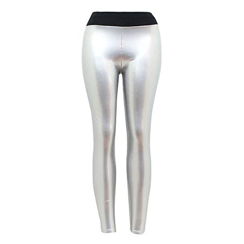AOJIAN Stretchy Faux Leather Yoga Pants Shiny Trousers Jogger Capri Workout Running Sports Leggings for Women Silver