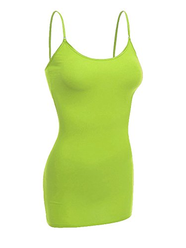 Emmalise Women's Basic Casual Long Camisole Cami Top Regular and Plus Sizes, Lime, Medium