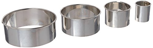 Ateco 4 Piece Stainless Steel 1440 Plain Edge Round Cutters Set in Graduated Sizes,