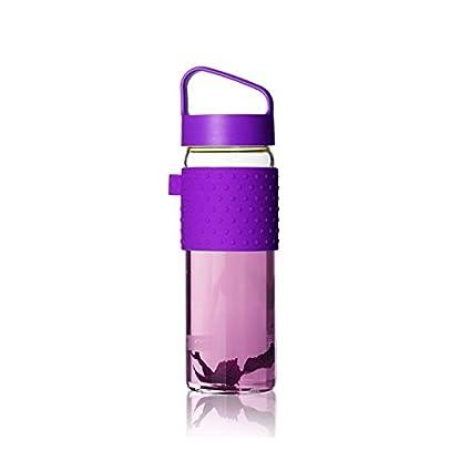 heesung botella de agua de vidrio con funda de silicona y forma de media luna colador