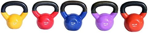 Ader Vinyl Kettlebell Set-5,10, 15, 20, 25 Lb 5 Pieces