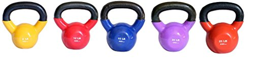 Ader Vinyl Kettlebell Set-8, 12, 15, 20, 25 Lb 5 Pieces by Ader Sporting Goods