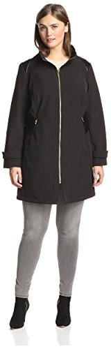 - Via Spiga Plus Women's Soft Shell Coat with Faux Leather Detail, Black, 1X US