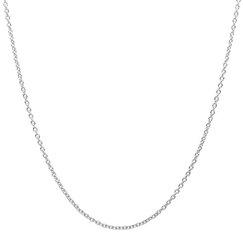 MCS Jewelry 14 Karat Solid White Gold Rolo Cable Chain Necklace 1.5mm (Length: 16