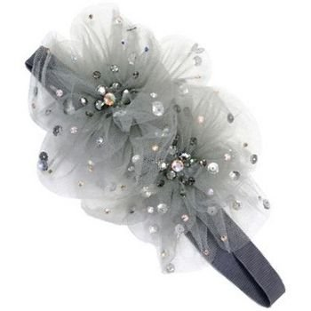 Tarina Tarantino - Fashion Couture - Starchild Odyssey Collection - Swarovski Crystal Paisley Peacock Tulle Flower Headband - Grey #HB01F8-1 ()