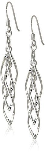 Sterling Silver Linear Swirl French Wire Earrings (Silver Gold Swirl)