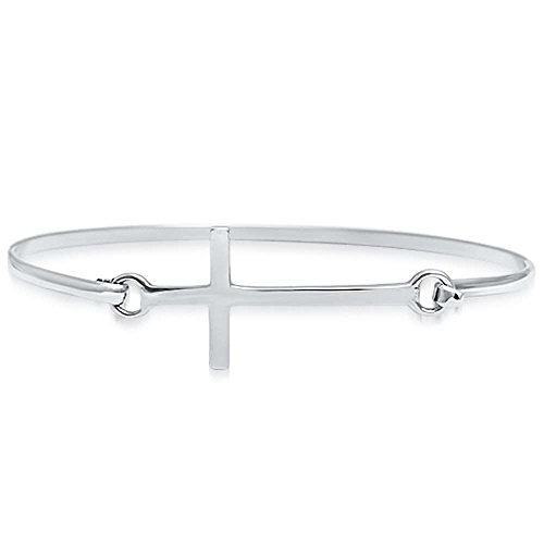 Sideway Sterling Silver Bangle Bracelet