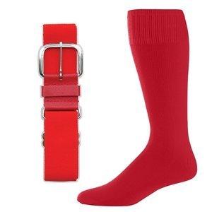 SteelLocker Baseball/Softball Belt & Sock Combo (Small (Youth 12-5, Ladies 4-7), Scarlet) - Red Combo Belt