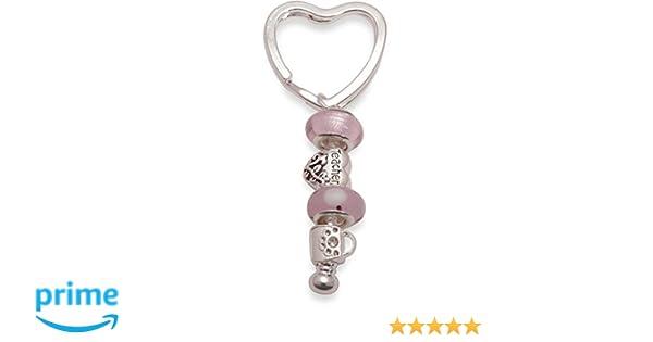 Bling Rocks para profesor personalizada plateado tipo Pandora de dama rosa/llavero bolso de mano cuenta para pulsera. Agradecimiento extremo de gran ...