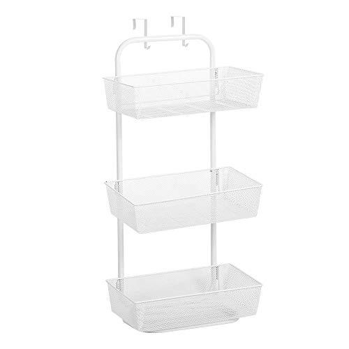 NEX Upgrade Over the Door Basket Organizer, 3-Tier Mesh Basket Hanging Storage Unit Over the Door Storage Organizer (White)