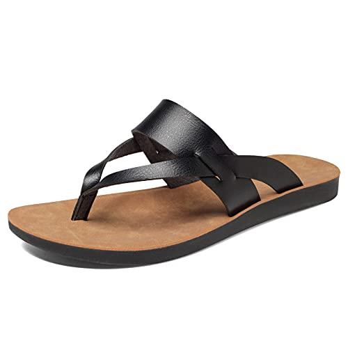NAYAZE Womens Flat Sandals Flip Flops Casual Thong Leather Beach Slipper (Black 8)