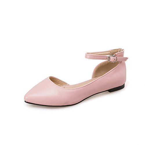 Qin&X Señaló la Mujer Punta Talón Plano Sandalias al Tobillo. Pink