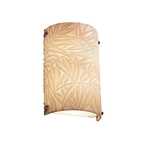 Justice Design Group Porcelina Collection 1-Light Finials Cylinder Wall Sconce - Outdoor - Dark Bronze Finish with Bamboo Faux Porcelain Resin Shade