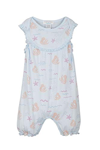 - Feather Baby Girls Clothes Pima Cotton Short Sleeve Yoke Front One-Piece Bubble Romper (12-18 Months, Octopi on Baby Blue)