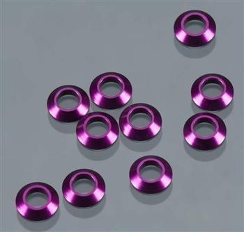 Aluminum Tapered Washer (Duratrax Aluminum Tapered Washer M3 Purple (10) by DuraTrax)