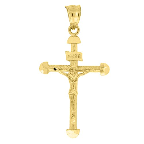 - Jewels By Lux 10kt Yellow Gold Womens Mens Unisex Crucifix Cross Religious Fashion Charm Pendant