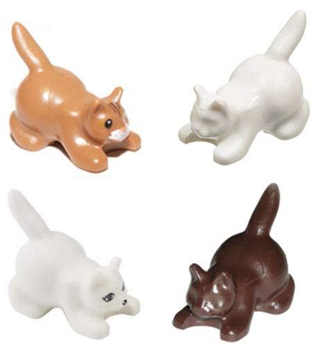 (LEGO 4 pcs NEW Friends CROUCHING CAT pack Animal Lot Assortment White Brown medium dark flesh decorated Minifig Minifigure Pet)