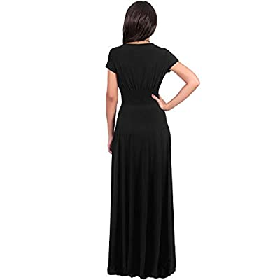 KOH KOH Womens Sexy Cap Short Sleeve V-Neck Flowy Cocktail Gown: Clothing