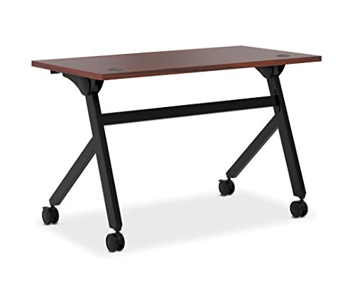 HON Assemble Flip Base Multi-Purpose Table, 48-Inch, Chestnut/Black (HBMPT4824P)