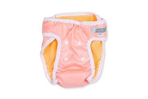 Washable Wonders Dog Diapers for Female | No Tail Hole | Premium Reusable Dog Panties | Absorbent Dog Diaper | Dog Diapers for Small Dogs (Small Pink)