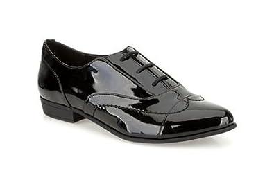 8d575609a9117 Womens Clarks Dawson Reel Black Patent Leather Smart Shoes