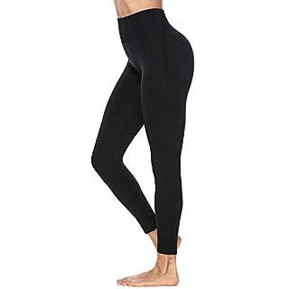 Women's High Waist Workout Pants Gym Seamless Leggings Tummy Control Butt Lift Yoga Pants (Black, Large)