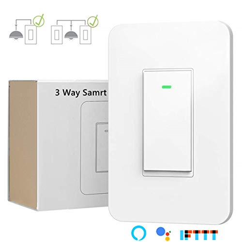 3 Way Smart Wi-Fi Light Switch, Individual 3 Way Switch(only one needed),Compatible with Alexa Google Assistant & IFTTT,Remote Control, Timing Function No Hub Required(1-Pack)