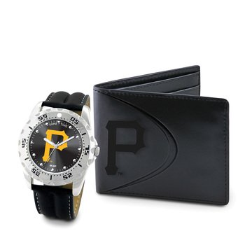 Game Time Men's 'Wallet Set' Quartz Metal Casual Watch, Color Black (Model: - Pirates Pittsburgh Leather Embossed