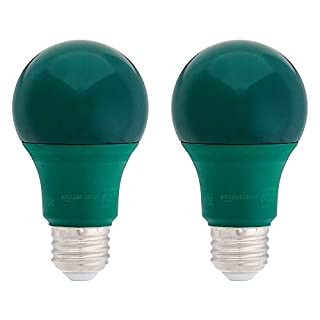 AmazonBasics 60 Watt Equivalent, Non-Dimmable, A19 LED Light Bulb - Green, 2-Pack