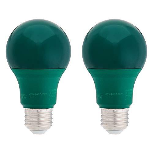 AmazonBasics 60 Watt Equivalent, Non-Dimmable, A19 LED Light Bulb - Green, 2-Pack