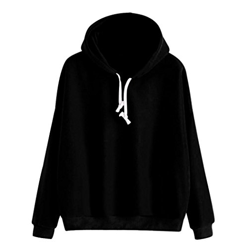 HTHJSCO Women's Long Sleeve Hoodie Sweatshirt, Women Ladies Solid Long Sleeve Casual Hooded Pullover Top Blouse (Black, XL) by HTHJSCO